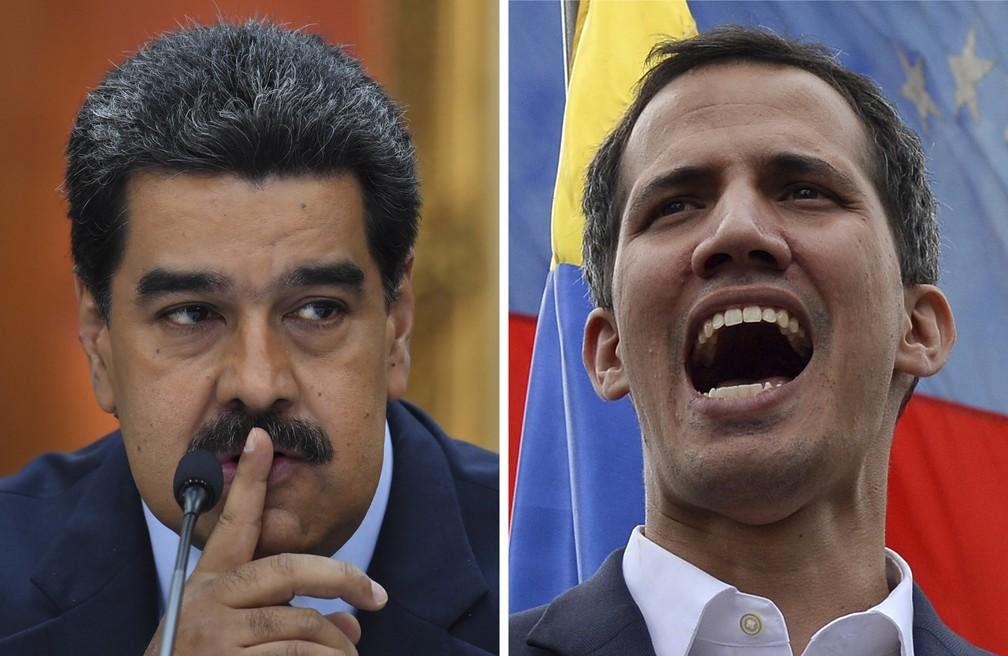 Montagem coloca Maduro e Guaidó lado a lado em imagens de arquivo — Foto: STF / AFP