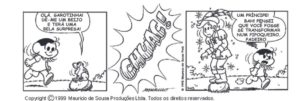 Tirinha correta feita por Maurício de Sousa  — Foto: Reprodução/Internet