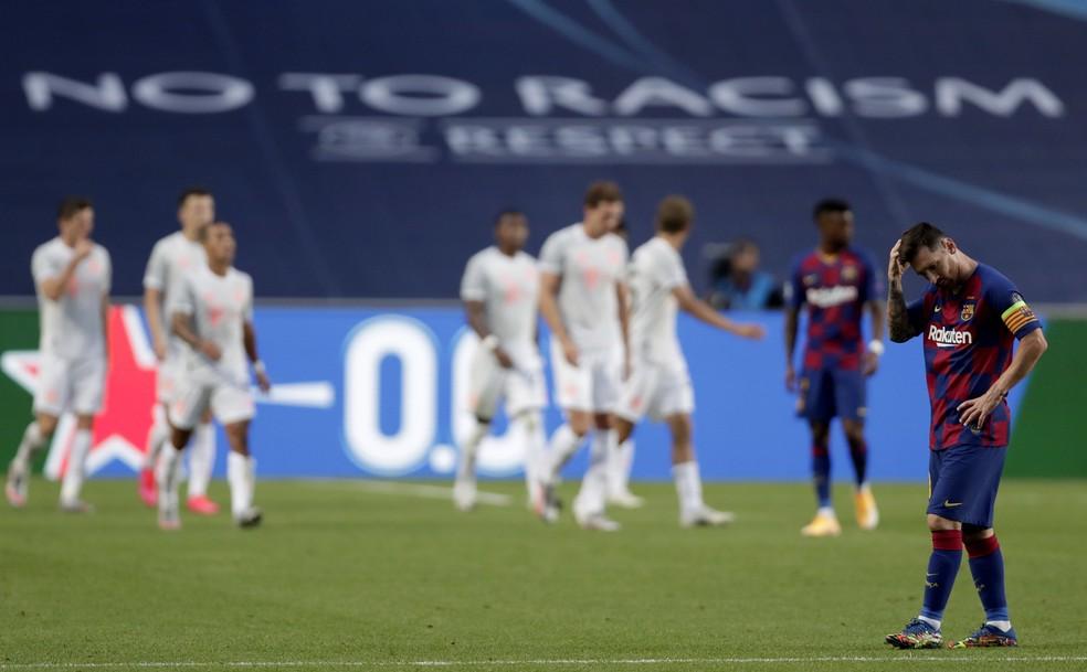 Messi na derrota de 8 a 2 do Barcelona para o Bayern de Munique — Foto: Manu Fernandez/EFE