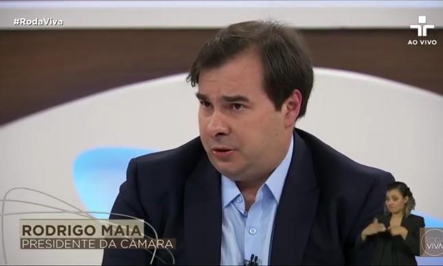 O presidente da Câmara, Rodrigo Maia, em entrevista ao Roda Viva