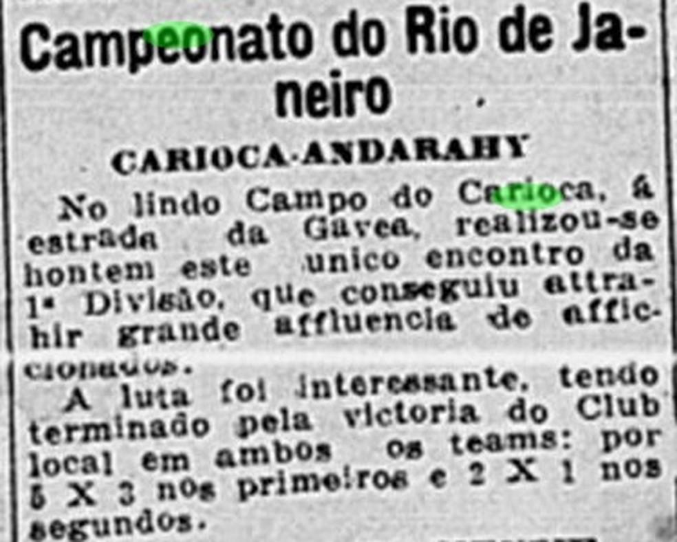 Útimo jogo do Carioca antes da paralisação pela gripe espanhola — Foto: Reprodução/Jornal do Brasil