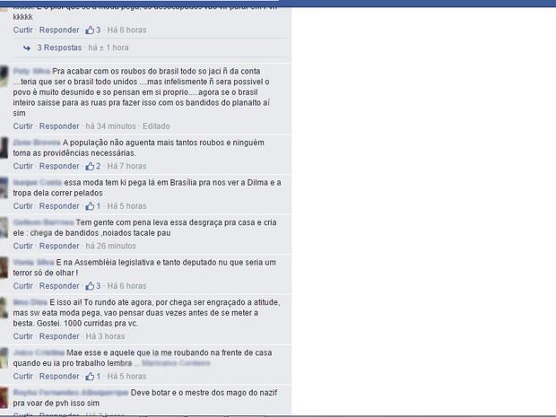 Comentários na internet defenderam atitudes de moradores (Foto: Reprodução/ Facebook)