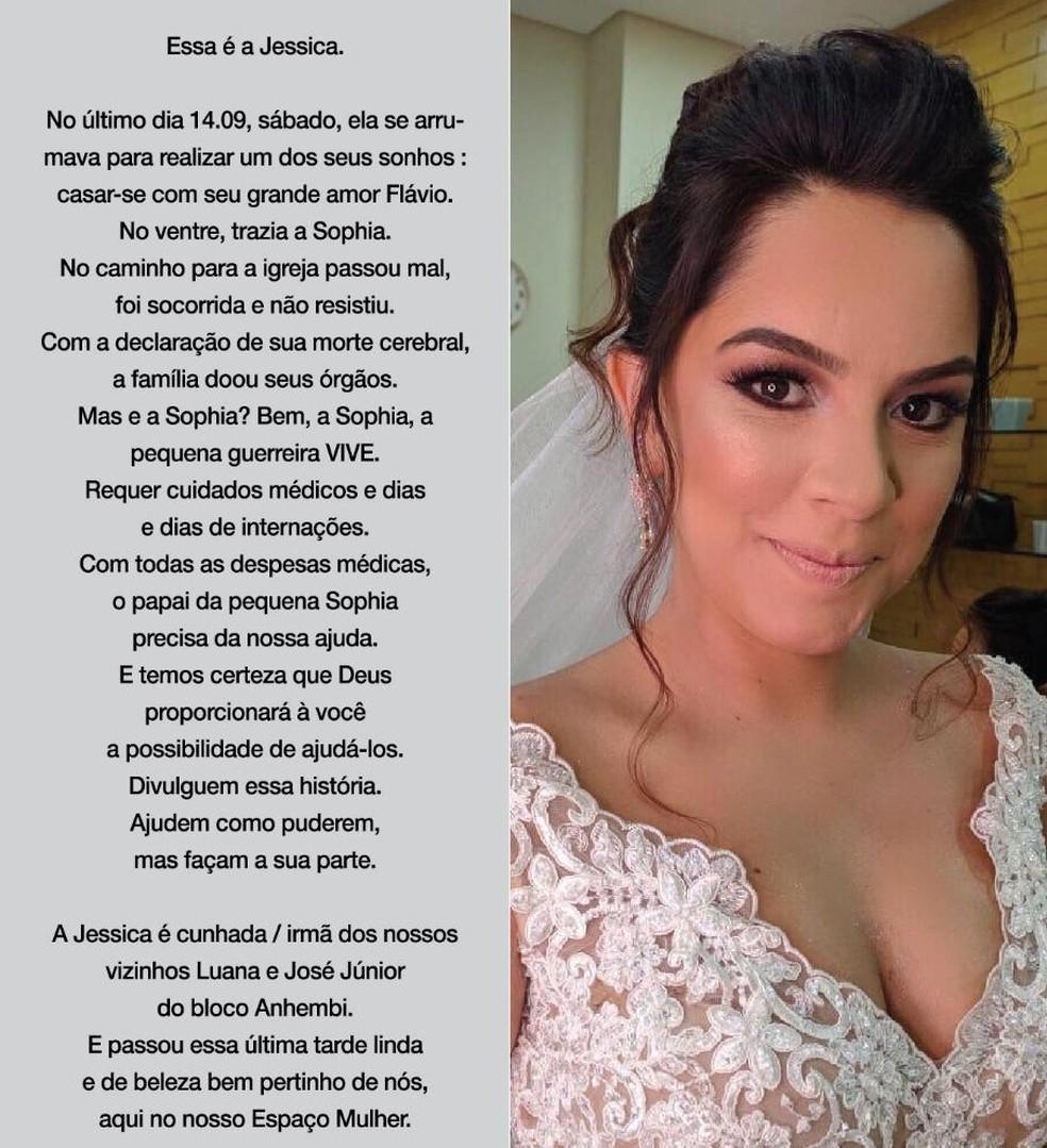 Jéssica morreu após o parto da filha Sophia. Ela passou mal a caminho da igreja para se casar — Foto: Arquivo pessoal