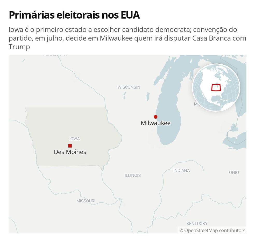 Iowa é o primeiro estado a escolher candidato democrata; convenção do partido, em julho, decide em Milwaukee quem irá disputar Casa Branca com Trump — Foto: G1