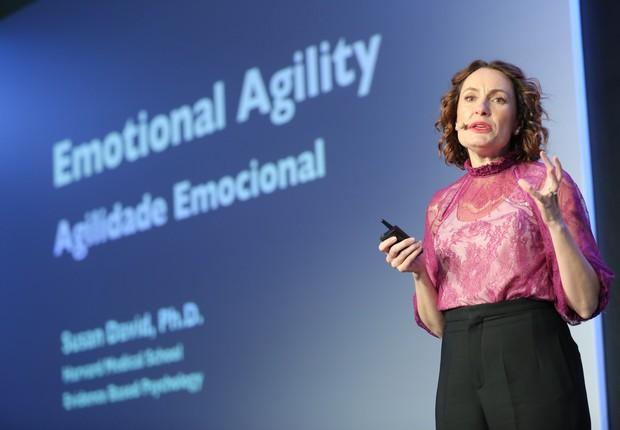Susan David durante o Leadership Summit 2018  (Foto: OpenSpace)