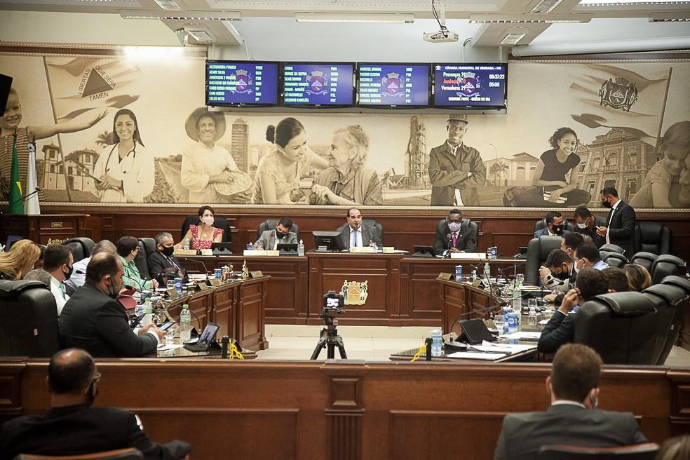 Reunião ordinária Câmara Municipal de Uberaba 10 de fevereiro de 2021 — Foto: Rodrigo Garcia/Câmara Municipal de Uberaba