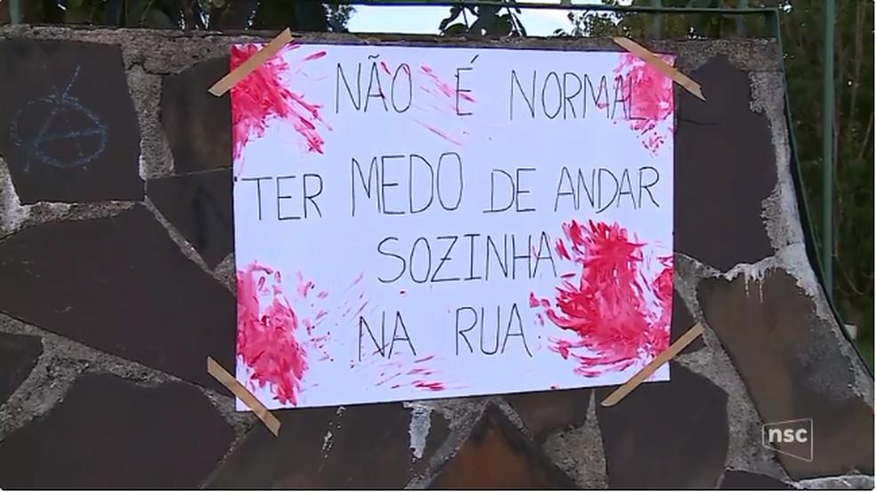 Estudantes fizeram protesto na Udesc de Lages (Foto: NSC TV/Divulgação)