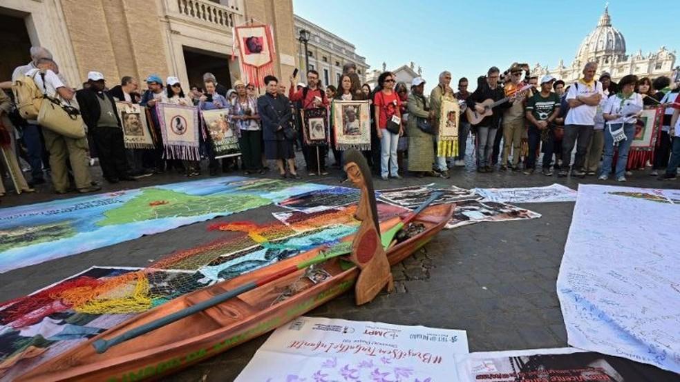 Imagem indígena estava exposta em igreja de Roma e foi considerada ofensiva por grupos ultraconservadores — Foto: Divulgação/Vatican News
