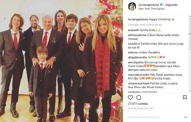 Luciana Gimenez e Marcelo de Carvalho com a família no Natal em NY (Foto: Reprodução / Instagram)