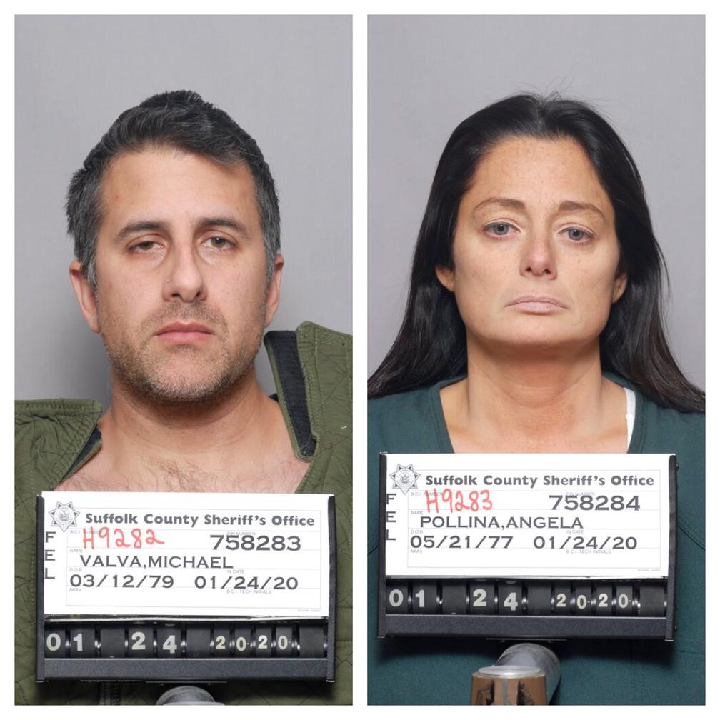 Michael Valva e Angela Pollina, acusados pela morte de Thomas Valva, de 8 anos — Foto: Suffolk County Sheriff/Divulgação/Via AP