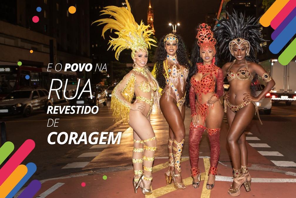 A corte da bateria da escola de samba Águia de Ouro em 2019 — Foto: Foto: Celso Tavares Arte: Betta Jaworski