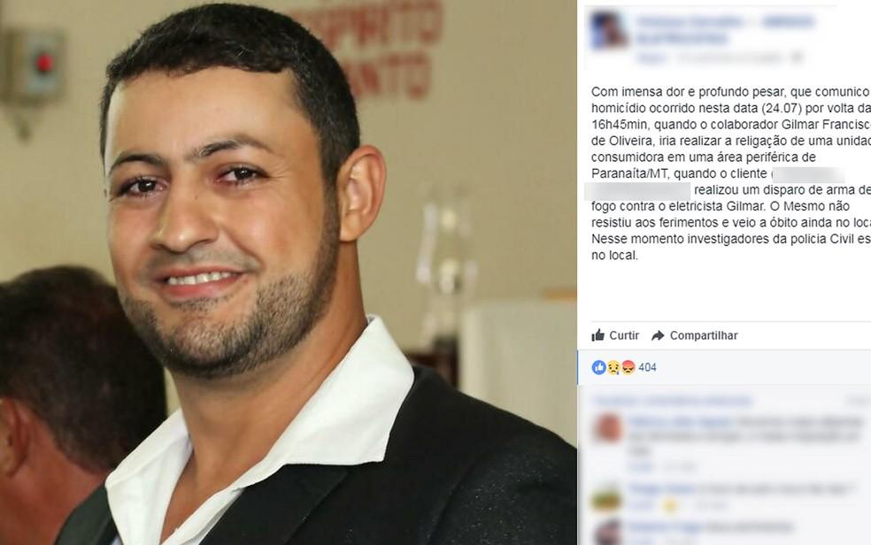 Amigos e colegas lamentaram a morte de Gilmar Francisco de Oliveira nas redes sociais (Foto: Facebook/Reprodução)