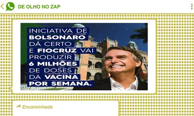 Imagem trata vacina da AstraZeneca, produzida no Brasil pela Fiocruz, como trunfo do presidente Bolsonaro