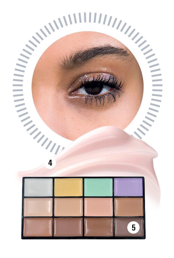 4. Sérum para olhos Blue, R$ 420, Chanel; 5. Paleta de corretivos, R$ 25, Ruby Rose (Foto: Imaxtree e Divulgação)