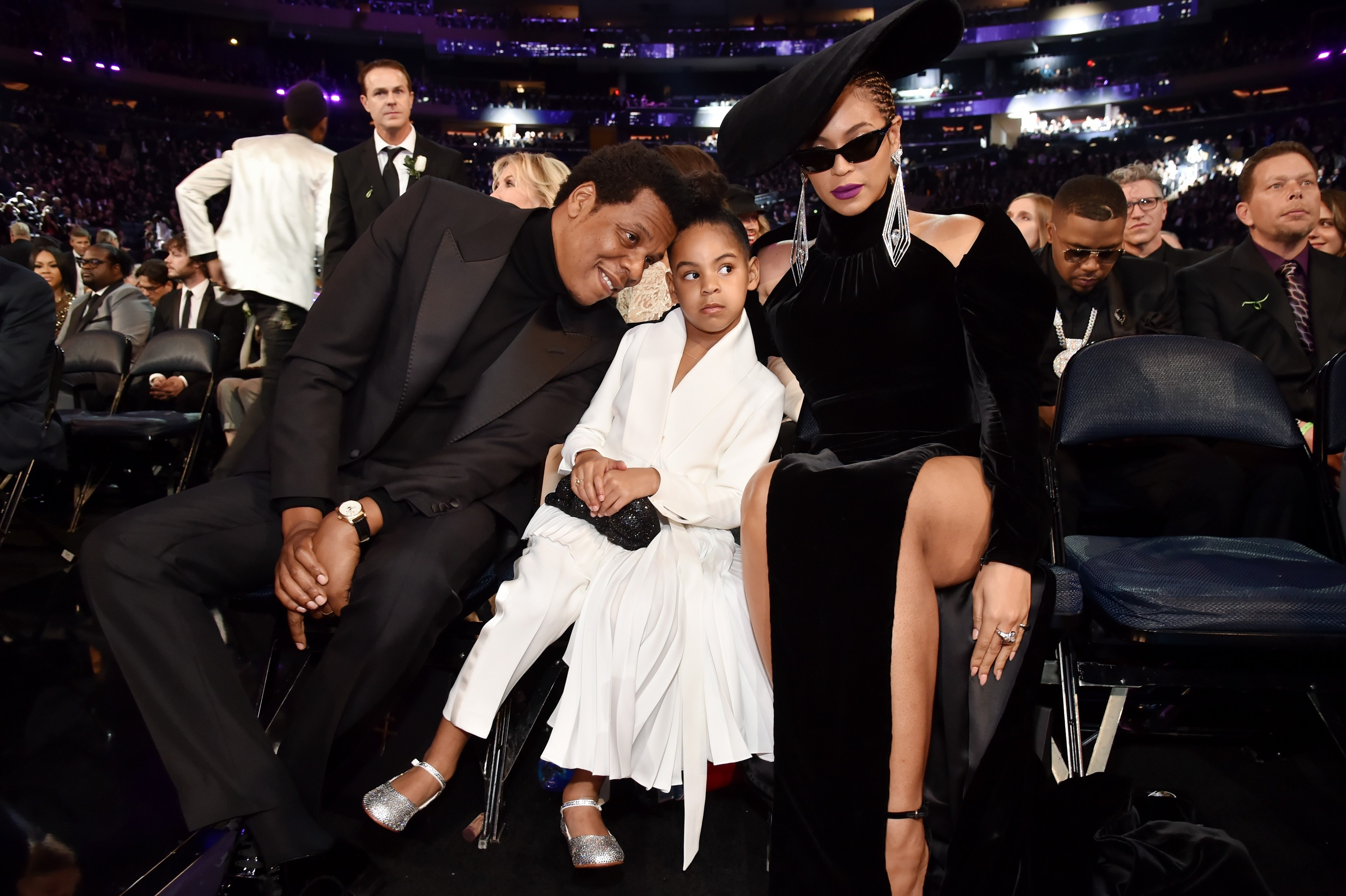 NEW YORK, NY - JANUARY 28: Recording artist Jay Z, daughter Blue Ivy Carter and recording artist Beyonce attend the 60th Annual GRAMMY Awards at Madison Square Garden on January 28, 2018 in New York City.  (Photo by Kevin Mazur/Getty Images for NARAS) (Foto: Getty Images for NARAS)
