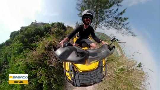"""""""Vai Encarar?"""" se aventura em trilha de quadriciclo por um dos cartões postais de Arraial do Cabo"""