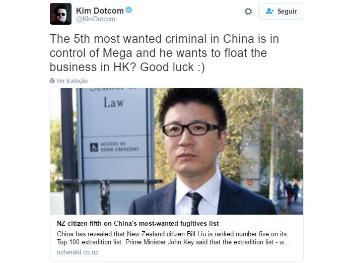 Kim Dotcom usou o Twitter para reclamar de um dos acionistas do Mega (Foto: Reprodução/Twitter)
