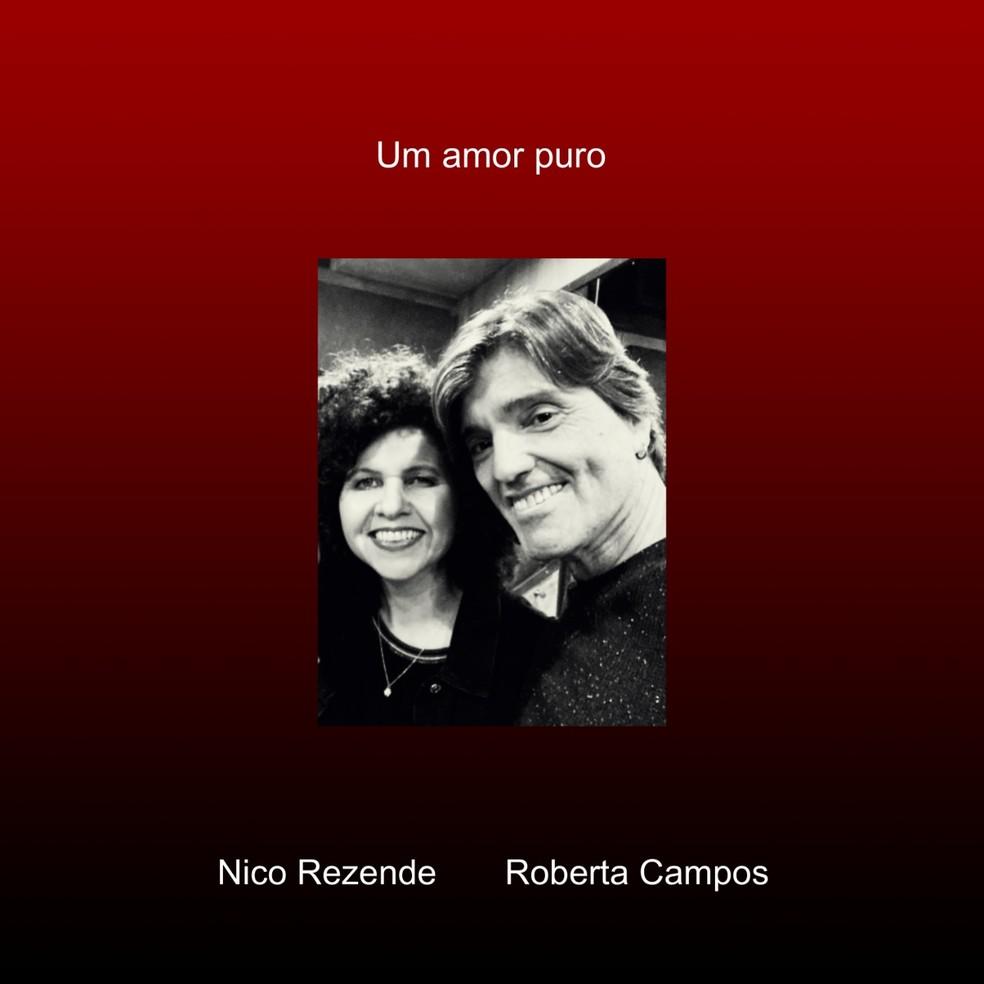 Capa do single 'Um amor puro', de Nico Rezende e Roberta Campos — Foto: Divulgação