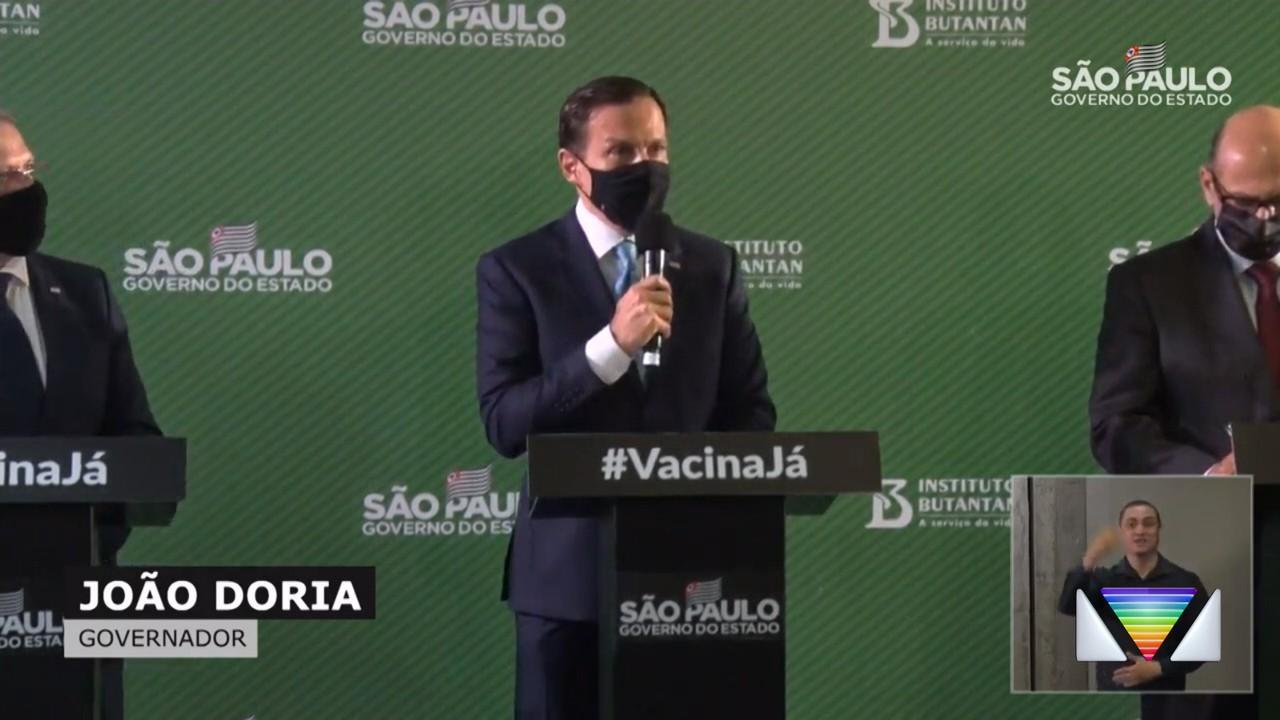 João Dória fala sobre a eficácia da Coronavac
