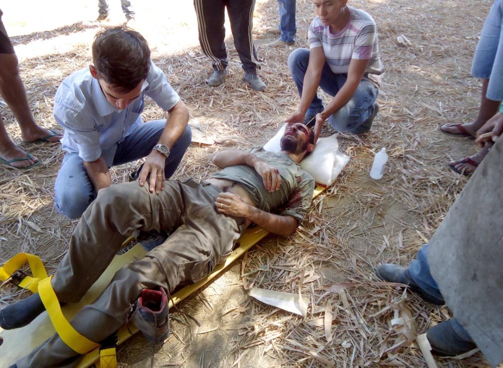 Rui foi socorrido por funcionários da fazenda — Foto: Arquivo Pessoal