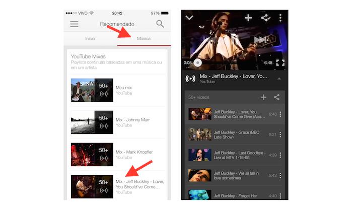 Acessando aas YouTube Mixes no aplicativo do YouTube em um dispositivo iOS (Foto: Reprodução/Marvin Costa)