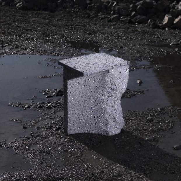 Estúdio cria coleção de móveis feitos de rocha lunar fictícia (Foto: Mihail Novakov)