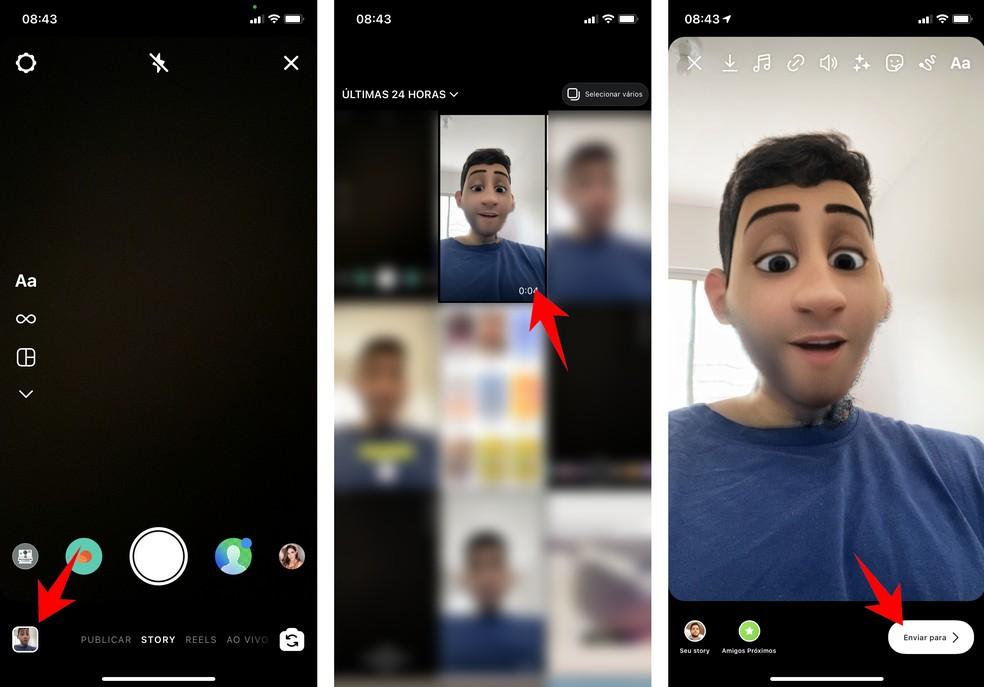 Vídeo com filtro da Pixar pode ser baixado para o celular para compartilhar no Instagram — Foto: Reprodução/Rodrigo Fernandes