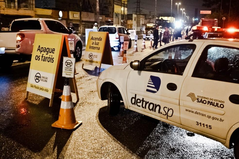 Blitz da Lei Seca  — Foto: Adriana Alves/Detran-SP