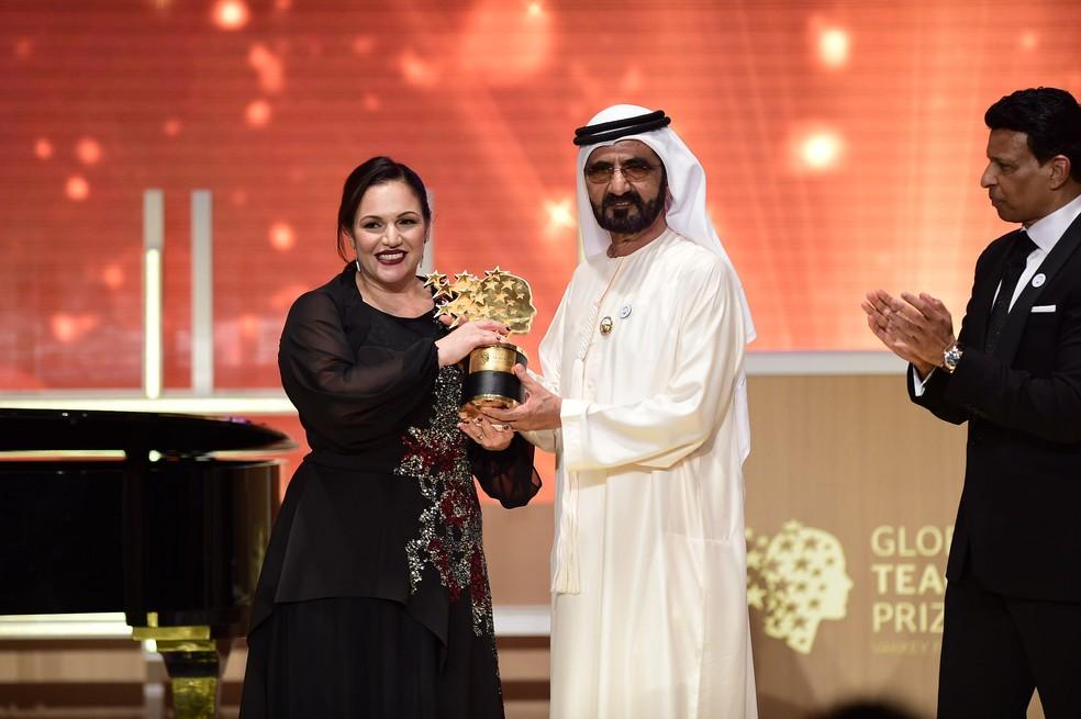 Professora de artes britânica Andrea Zafirakou leva prêmio de Melhor Educador do Mundo (Foto: Gesf)