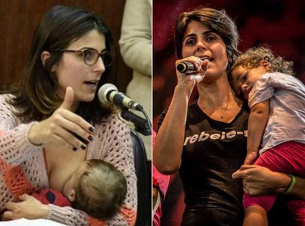 Amamentando, falando em público: Laura acompanha a mãe Manuela D'Ávila (Foto: Reprodução Facebook)