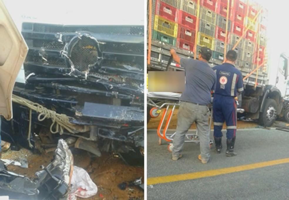 Acidente envolveu van e caminhão — Foto: Lay Amorim/Achei Sudoeste
