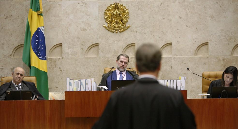 O presidente do Supremo Tribunal Federal (STF), ministro Dias Toffoli, durante sessão de julgamentos na última quinta-feira (7) — Foto: Rosinei Coutinho/SCO/STF