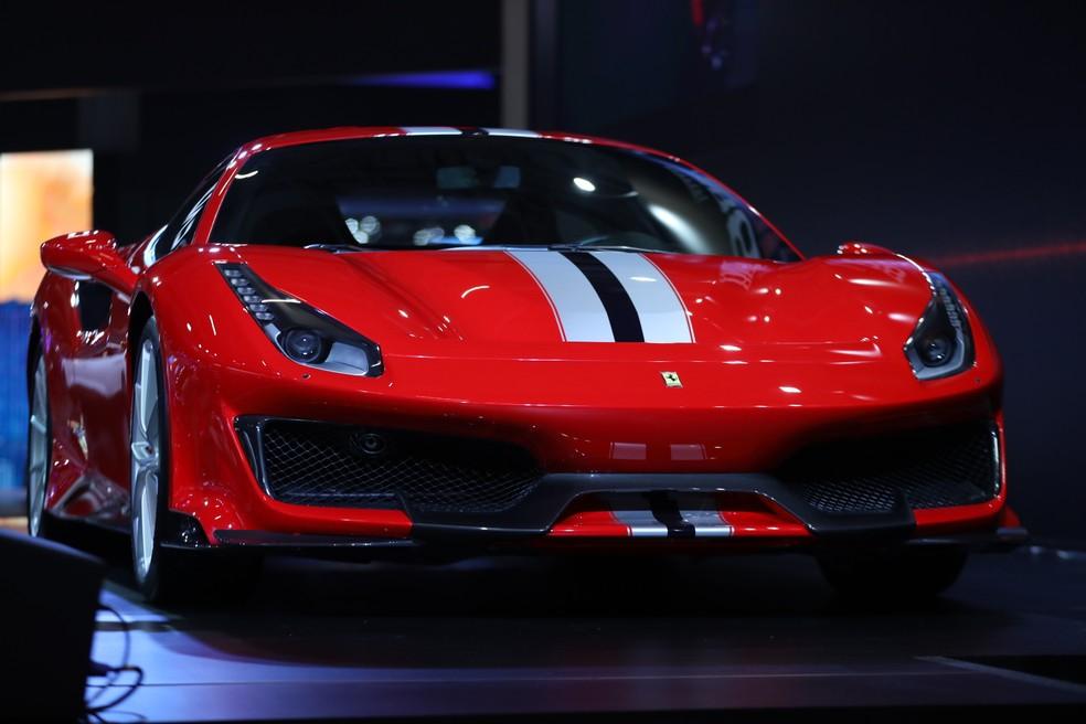 Ferrari 488 Pista no Salão do Automóvel 2018 — Foto: Fabio Tito/G1