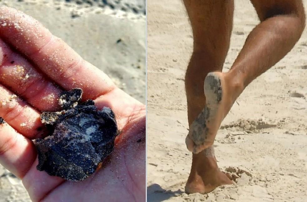Banhistas foram surpreendidos com o óleo ao frequentar praias da Região dos Lagos do Rio — Foto: Reprodução/Inter TV RJ