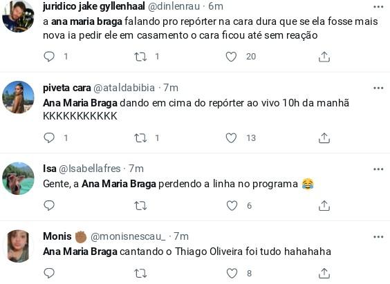 Internautas comento elogio de Ana Maria Braga a repórter no 'Mais você' (Foto: Reprodução)