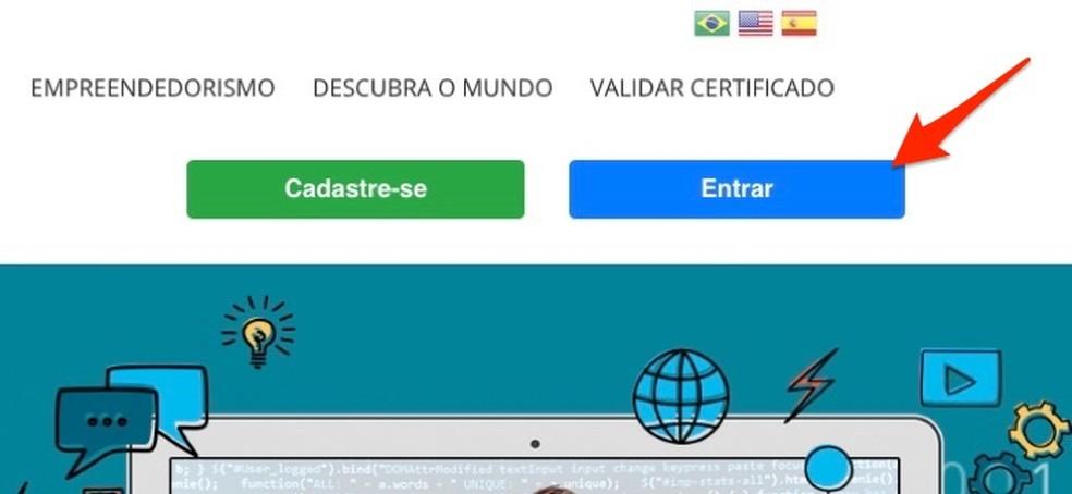 Ação para visualizar as opções de acesso a uma conta de usuário no site Brasil Mais TI — Foto: Reprodução/Marvin Costa