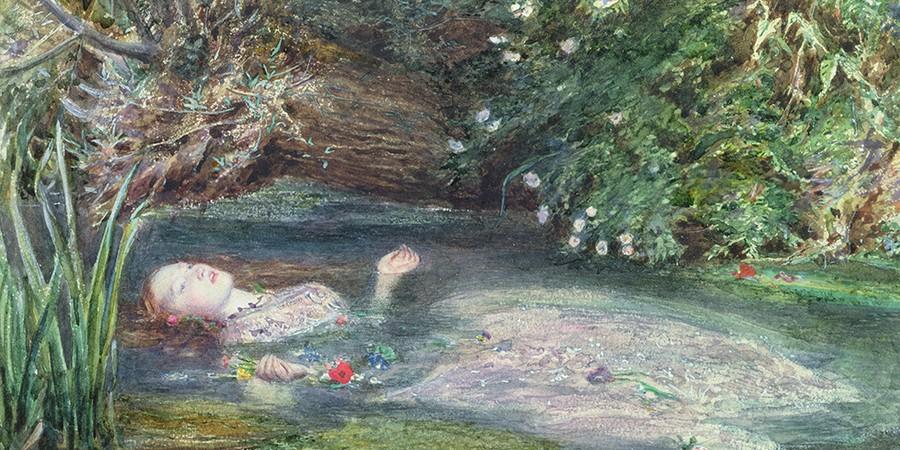 Ofélia, de Sir John Everett Millais, retrata a personagem de Shakespeare afundando em um rio, passagem marcante da tragédiaHamlet (Foto: BRIDGEMAN IMAGES)
