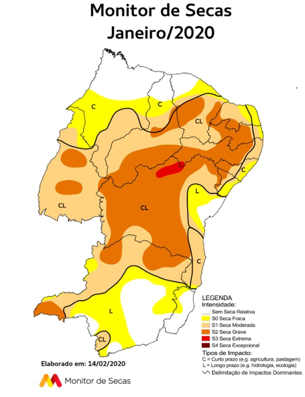 O Ceará apresentou grande variabilidade espacial e temporal nas precipitações ao longo do mês de janeiro.  — Foto: Monitor de Secas