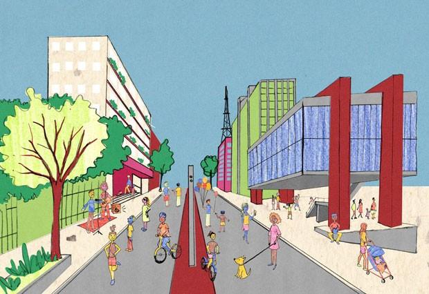 Livro de urbanismo para crianças mostra a cidade como um lugar de encontros e de brincadeiras (Foto: Ilustração Luísa Amoroso)