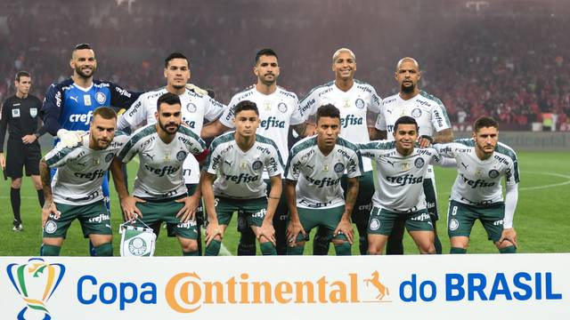 Time do Palmeiras na partida contra o Inter