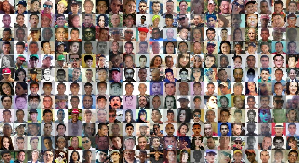 As vítimas da violência em apenas uma semana no Brasil (Foto: Arte/G1)