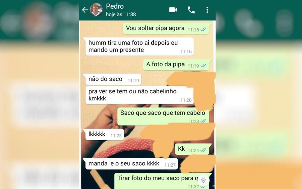 Conversa mostra suspeito pedindo foto nua para criança, em Planaltina (Foto: Divulgação/Polícia Civil)