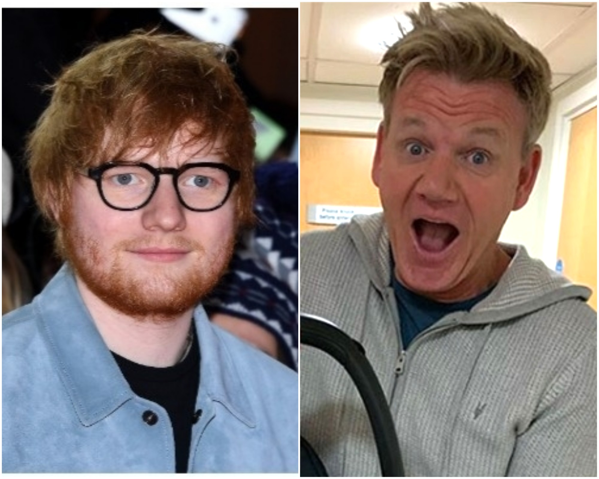 Ed Sheeran e Gordon Ramsay (Foto: Getty Images / Instagram)