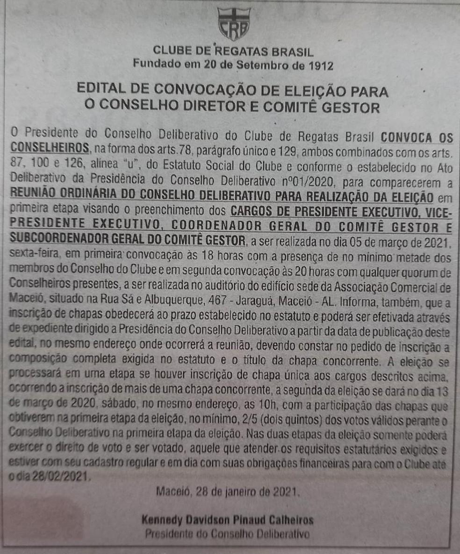 Edital de Convocação para eleição no CRB — Foto: Divulgação/CRB