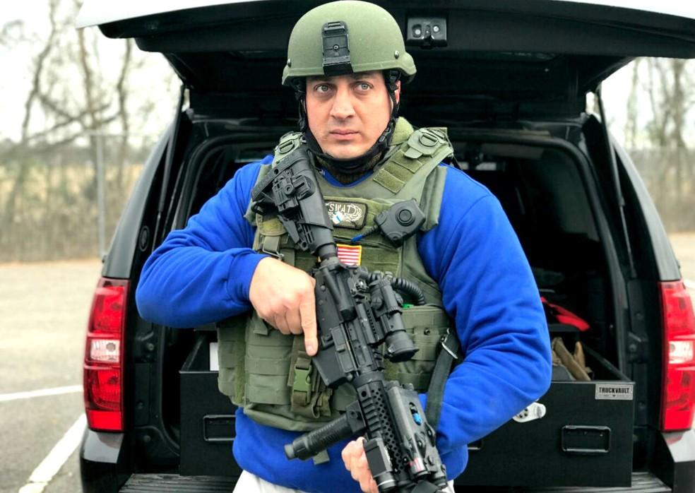 Vitória na fase nacional de premiação por heroísmo garntiu a Taroco direito a um treinamento na SWAT do Texas (Foto: Arquivo pessoal)