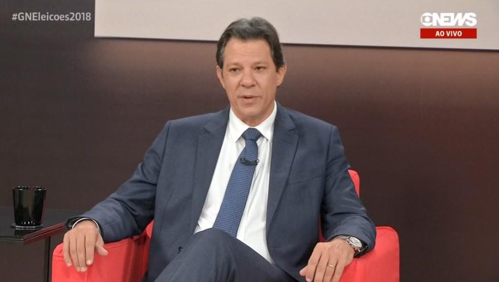 O candidato do PT a vice-presidente da República, Fernando Haddad (Foto: Reprodução/GloboNews)