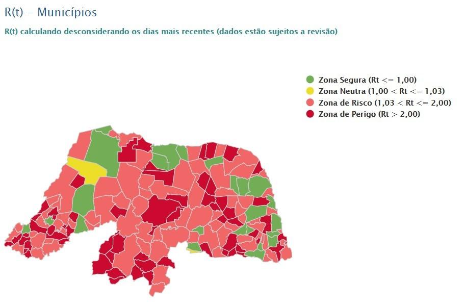 RN tem 63 municípios com taxa de transmissão da Covid-19 na 'zona de perigo'