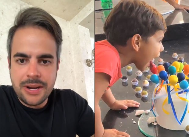 Kaká Diniz celebra nova idade com o filho, Henry (Foto: Reprodução)