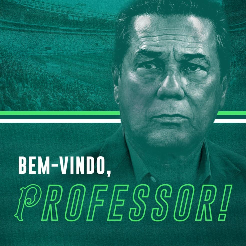 Anunciado pelo Palmeiras, Vanderlei Luxemburgo vai para a sua quinta passagem pelo Alviverde — Foto: Divulgação