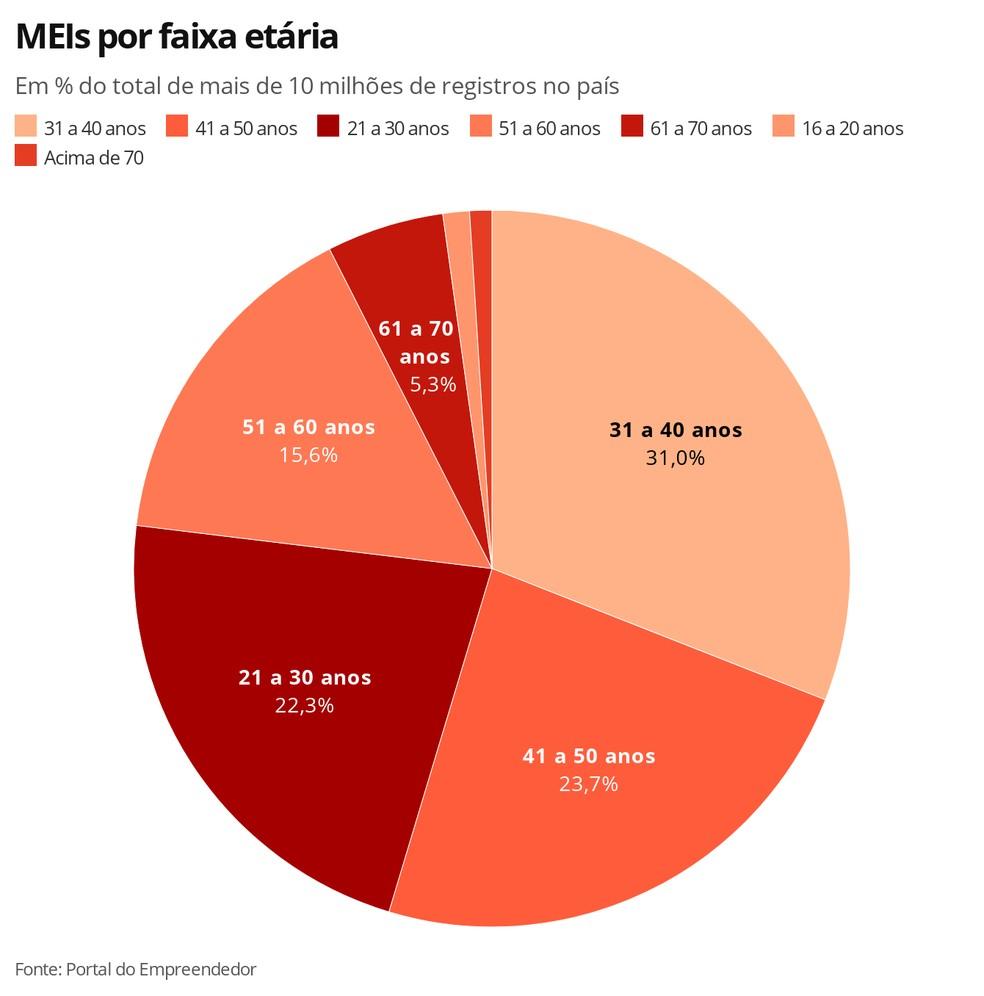 MEIs por faixa etária — Foto: Economia G1